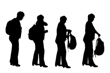 Vector silhouette of a woman with a backpack.