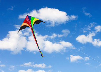 kite soars in the sky with clouds