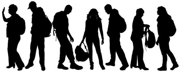 Vector silhouette of a people with a backpack.