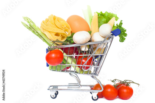 mini supermarket car isolated over a white background. healthy