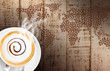 Coffee cup and saucer on  wood background