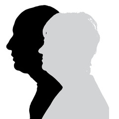 Vector silhouette profile of men and women.