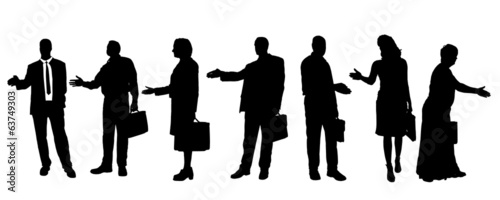 Vector silhouettes of business people.