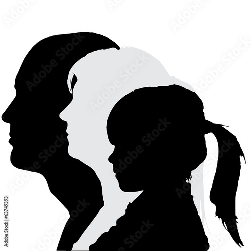 Vector silhouette profile of family.
