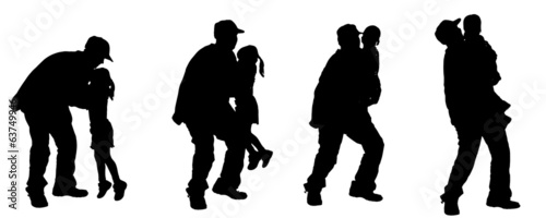 Vector silhouette of an elderly man.