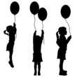 Vector silhouettes of girls with balloons. - 63750130