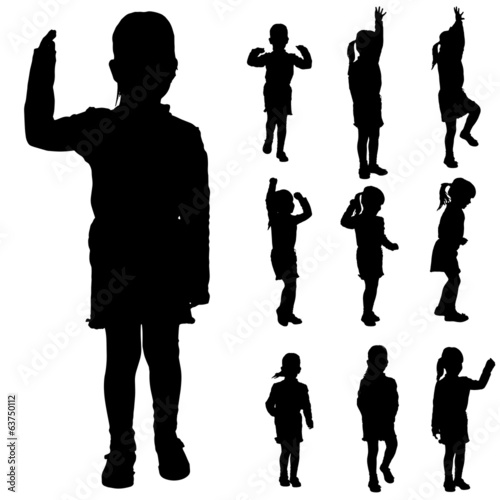 Vector silhouette of a little girl.