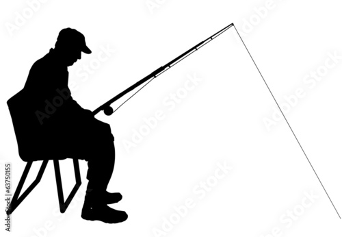 Vector silhouette of a man who fishes.