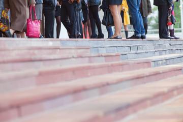 Pedestrians in modern city street