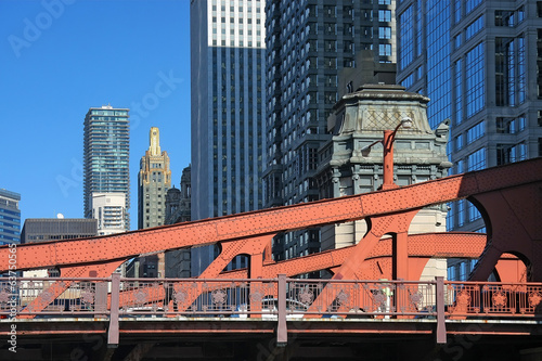 Chicago buildings and red bridge