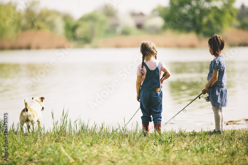 canvas print picture Two little girls at fishing