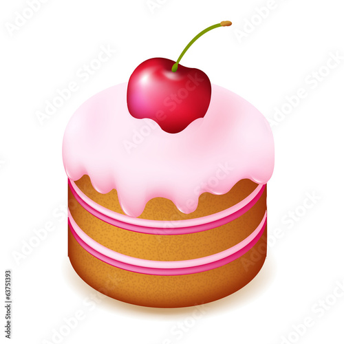 Birthday Cake With Cherry