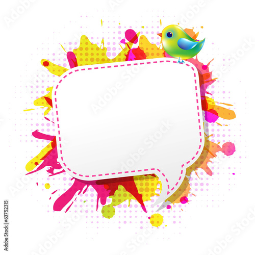 Color Grunge Poster With Abstract Speech Bubble With Bird