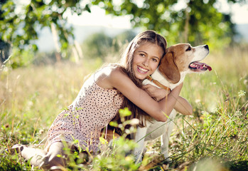 Teenage girl with dog