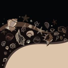 Sea background. Hand drawn vector illustration