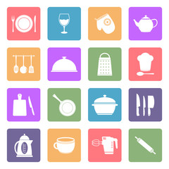 Kitchen utensil flat icons set