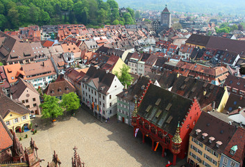 Munsterplatz and Freiburg old town, Germany