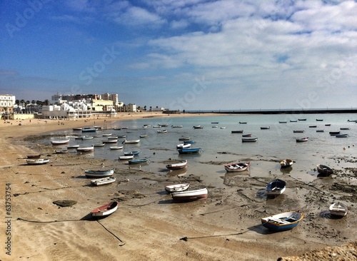 Boats in the Caleta beach, Cadiz, Spain