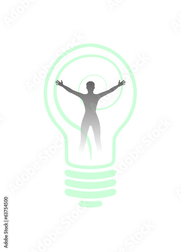 silhouette of man in the light bulb