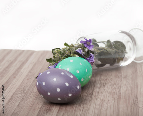 Two eggs and flowers