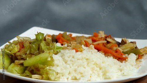 Rice, meat and salad