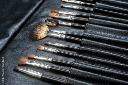 Makeup Tools in a leather case