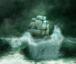 old ship in a thunderstorm - 63755310