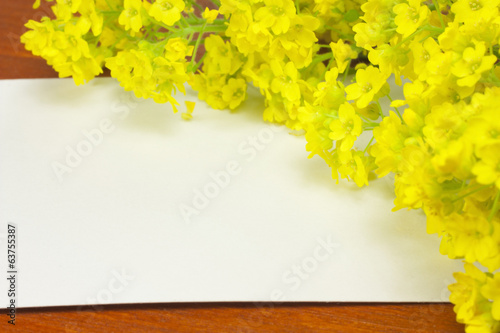 white card with flowers
