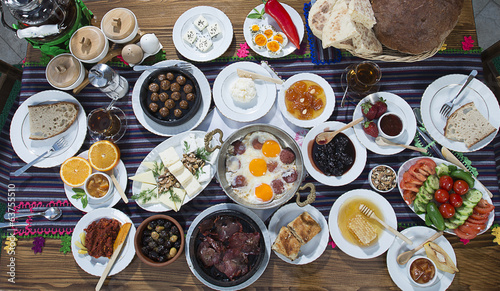 Classic Turkish style breakfast from above