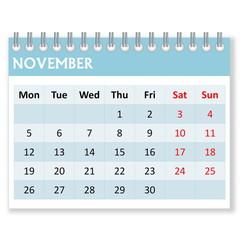 Calendar sheet for november