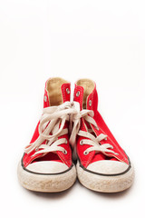 Red canvas sneakers