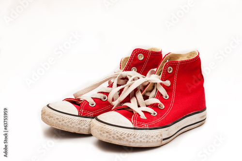 Canvas red sneakers isolated