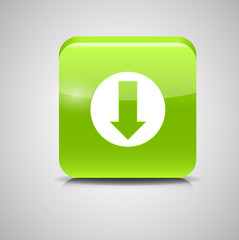 Glass Download Button Icon Vector Illustration
