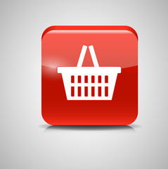Shopping Glossy Basket Icon Vector Illustration