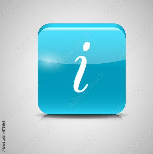 Glass Information Button Icon. Vector Illustration
