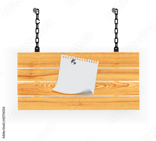 sheet of paper hung on a wooden board for announcements