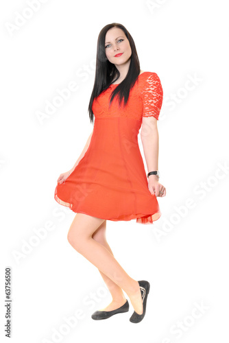 Fashion model wearing red dress