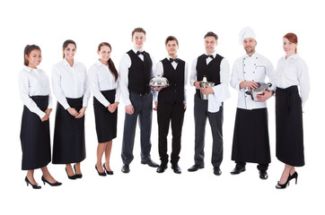 Large group of waiters and waitresses