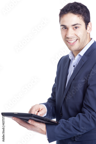 Businessman using a tablet computer, isolated on white