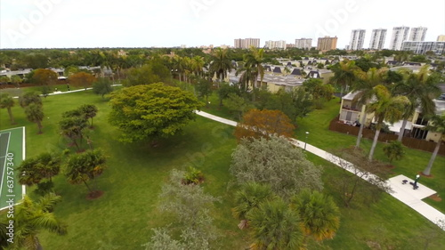 Aerial video of a park space in Hallandale Florida