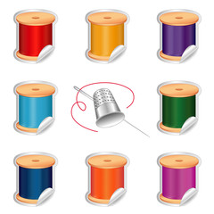 Needle and Threads Stickers, silver thimble, DIY sewing, crafts