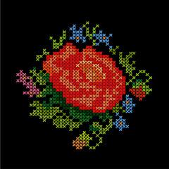 Vintage Embroidery Background, Flower Bouquet Cross Stitch