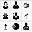set of web icons on white background