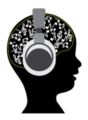 child in stereo earphones with notes in the head