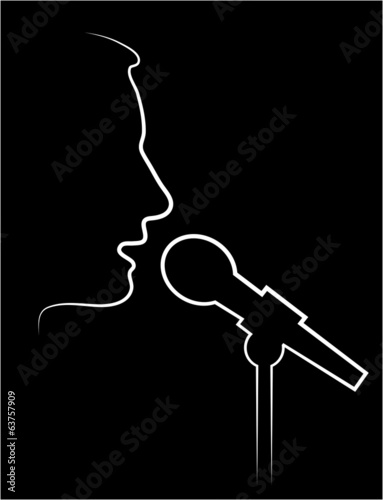 abstract contour of the performer at a microphone