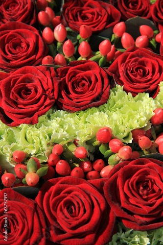 Red rose wedding arrangement