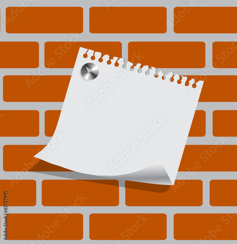 sheet of paper on a brick wall with a place for your text