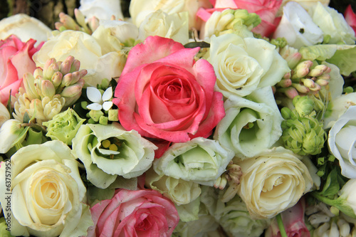 Pink and white bridal arrangement