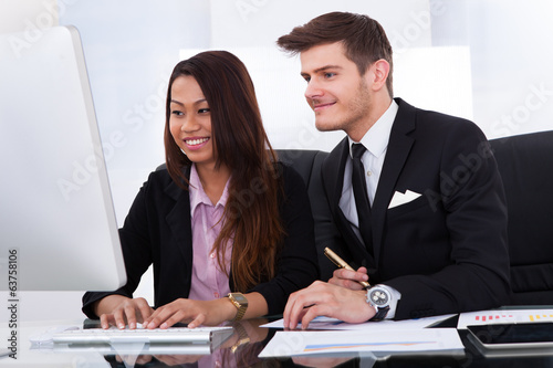 Business Colleagues Using Computer