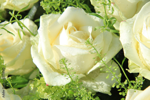 Wedding flowers: roses and green